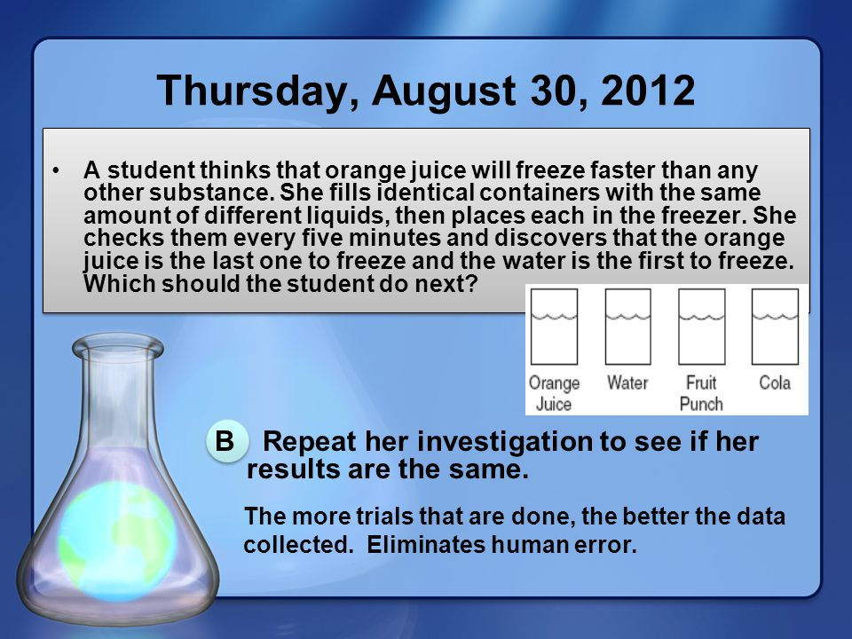 Thursday, August 30, 2012 A student thinks that orange juice will freeze faster than any other substance.