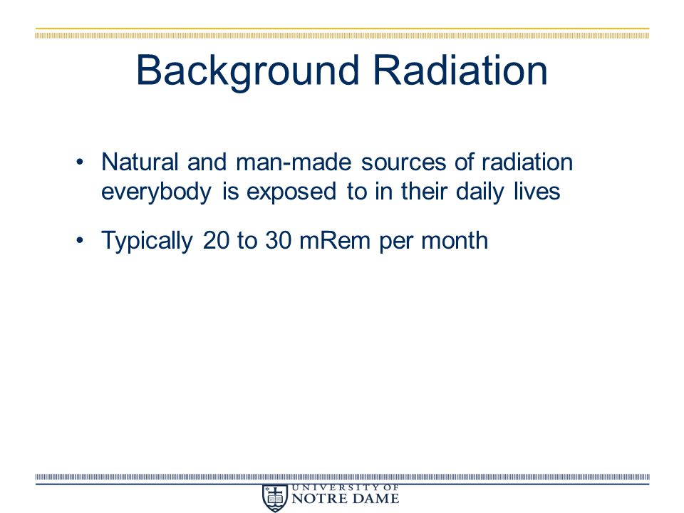Background Radiation Natural and man-made sources of radiation everybody is exposed to in their daily lives Typically 20 to 30 mRem per month