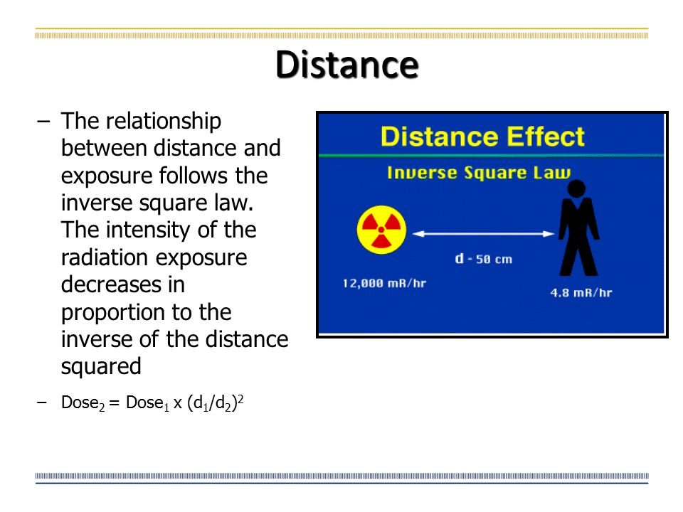 Distance −The relationship between distance and exposure follows the inverse square law. The intensity of the radiation exposure decreases in proporti