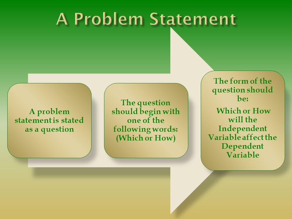 A problem statement is stated as a question The question should begin with one of the following words: (Which or How) The form of the question should be: Which or How will the Independent Variable affect the Dependent Variable