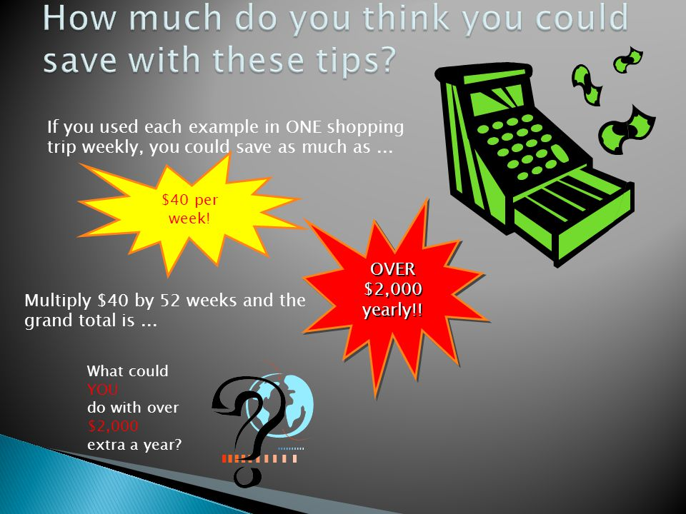 If you used each example in ONE shopping trip weekly, you could save as much as...