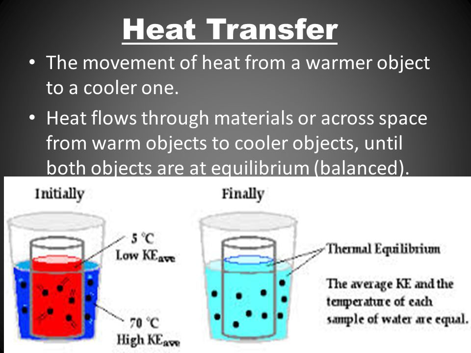 Molecules in Motion: Thermal energy The motion of molecules produces heat The more motion, the more heat is generated Thermal energy is transferred through a material by the collisions of atoms within the material.