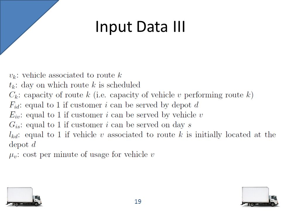 Input Data III 19