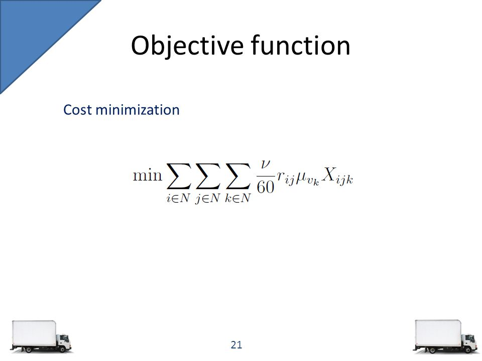 Objective function 21 Cost minimization