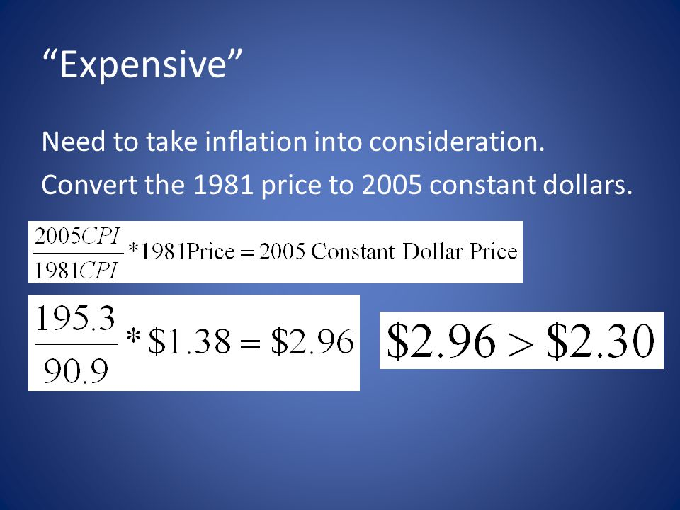"""""""Expensive"""" Need to take inflation into consideration. Convert the 1981 price to 2005 constant dollars."""