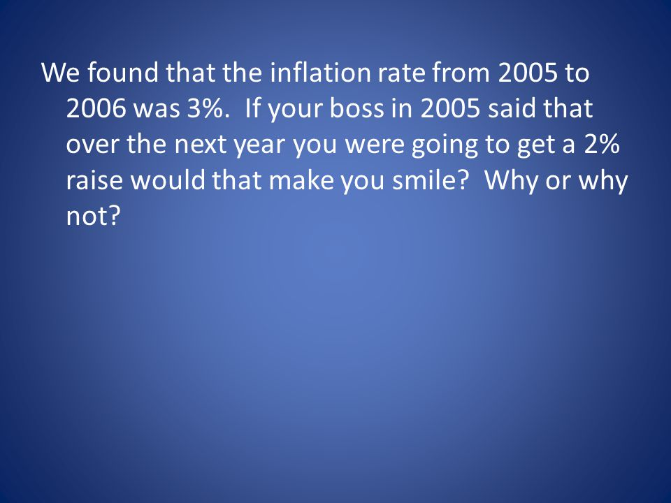 Ratio of Prices Ratio of two indices 2006 to 2005 On average consumer goods of 2006 cost 1.03 times that of 2005.