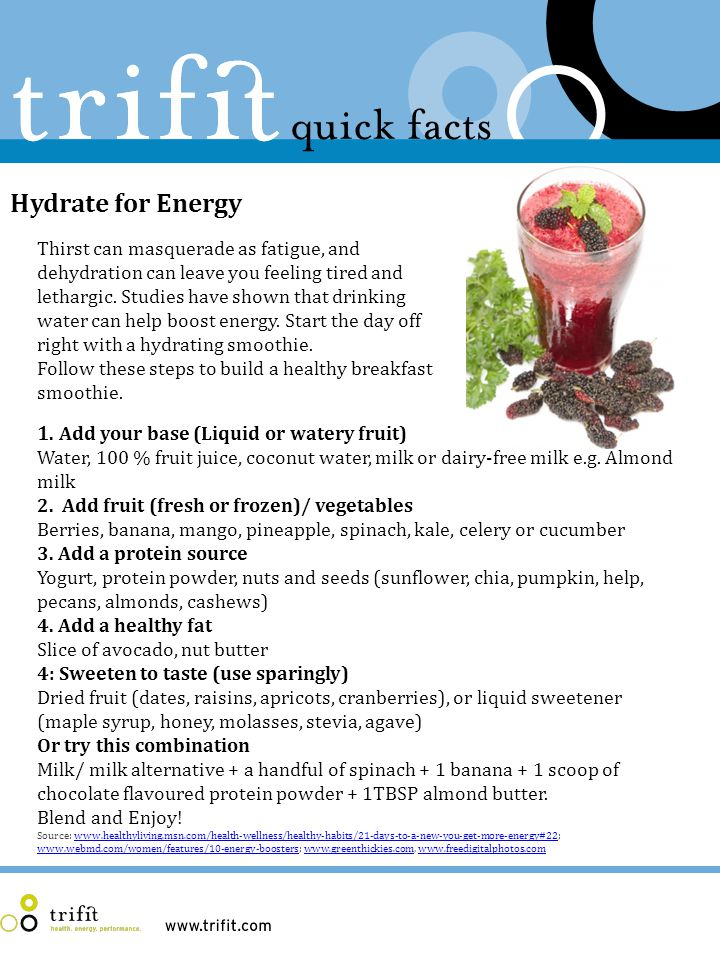 Hydrate for Energy Thirst can masquerade as fatigue, and dehydration can leave you feeling tired and lethargic.
