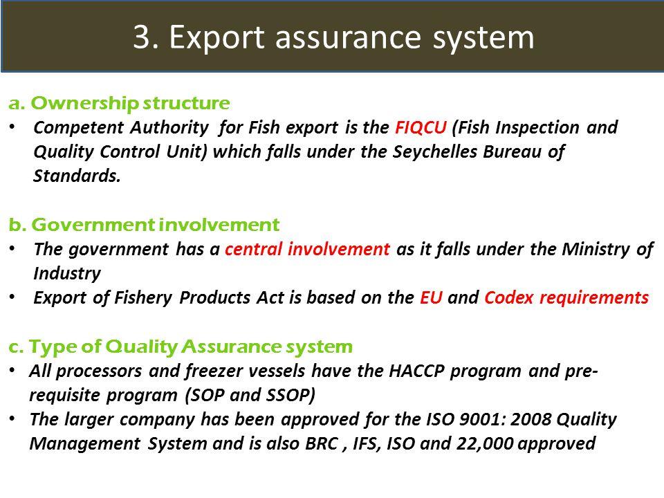3. Export assurance system a.