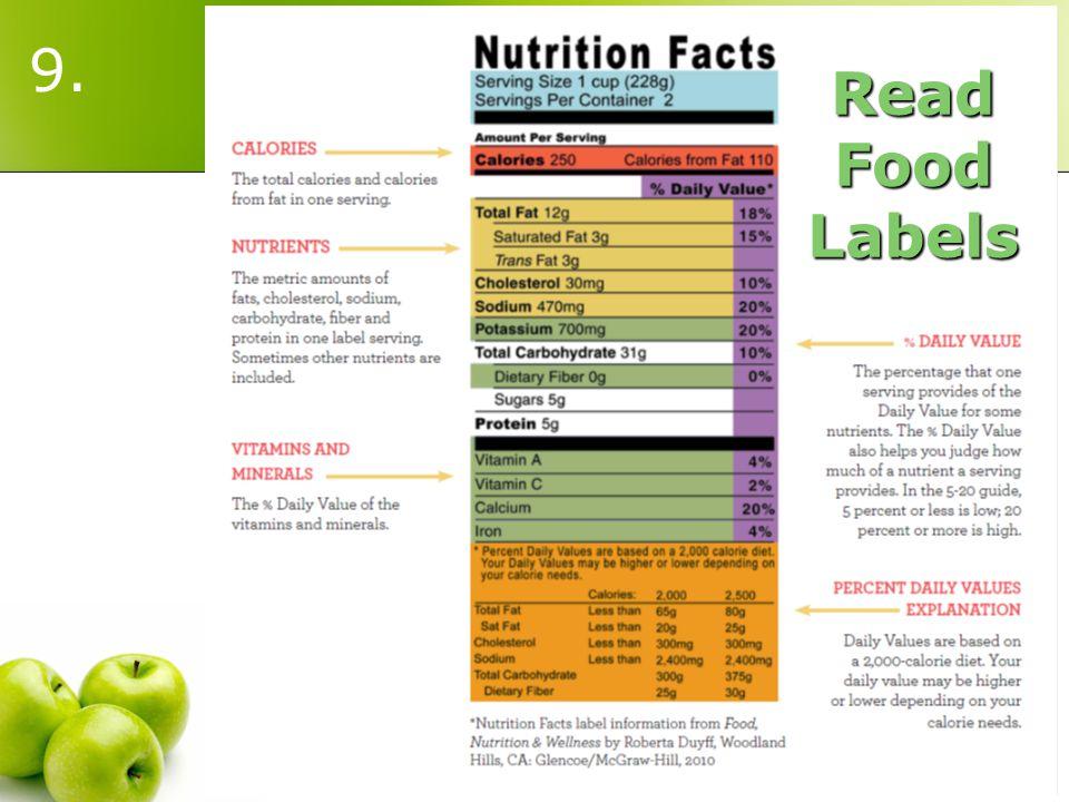 Read Food Labels 9.