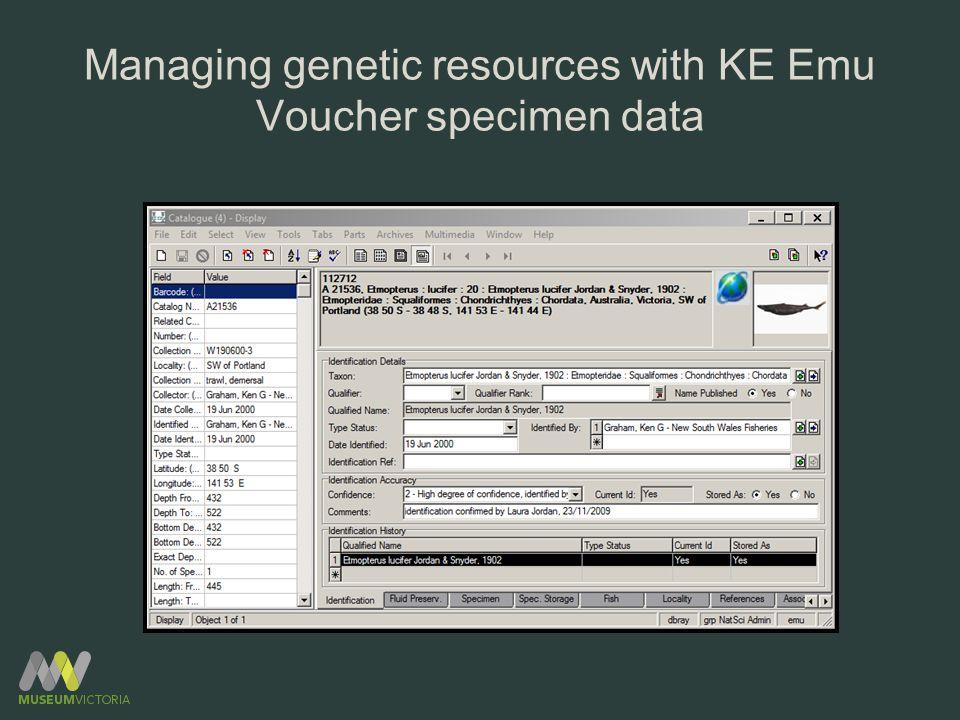Managing genetic resources with KE Emu Voucher specimen data