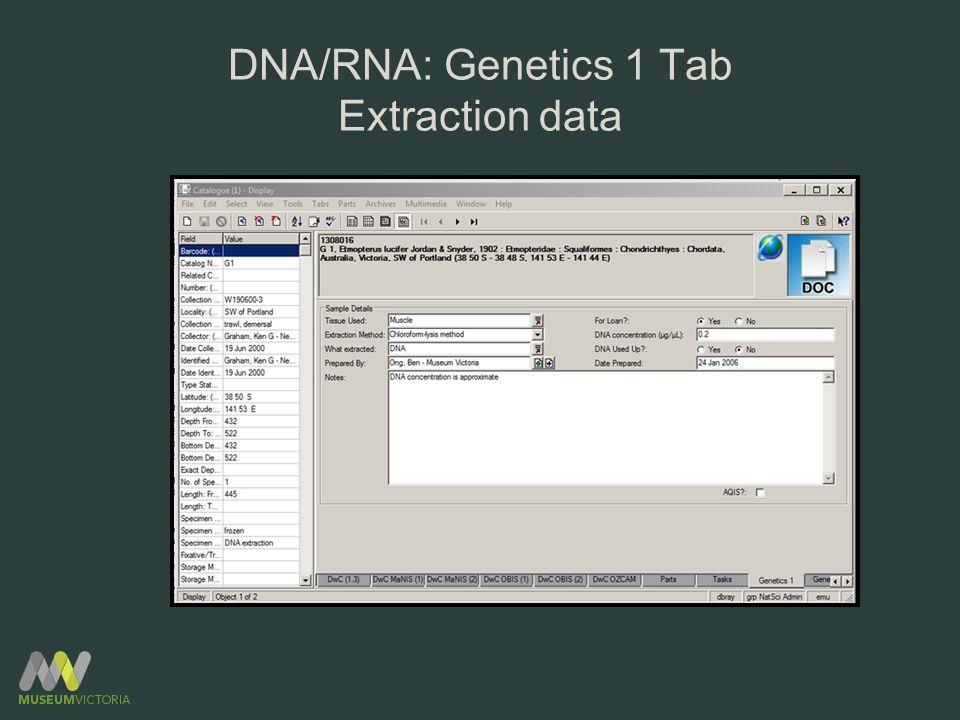 DNA/RNA: Genetics 1 Tab Extraction data