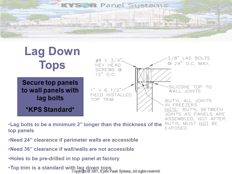 """Lag Down Tops Secure top panels to wall panels with lag bolts *KPS Standard* Lag bolts to be a minimum 2"""" longer than the thickness of the top panels"""