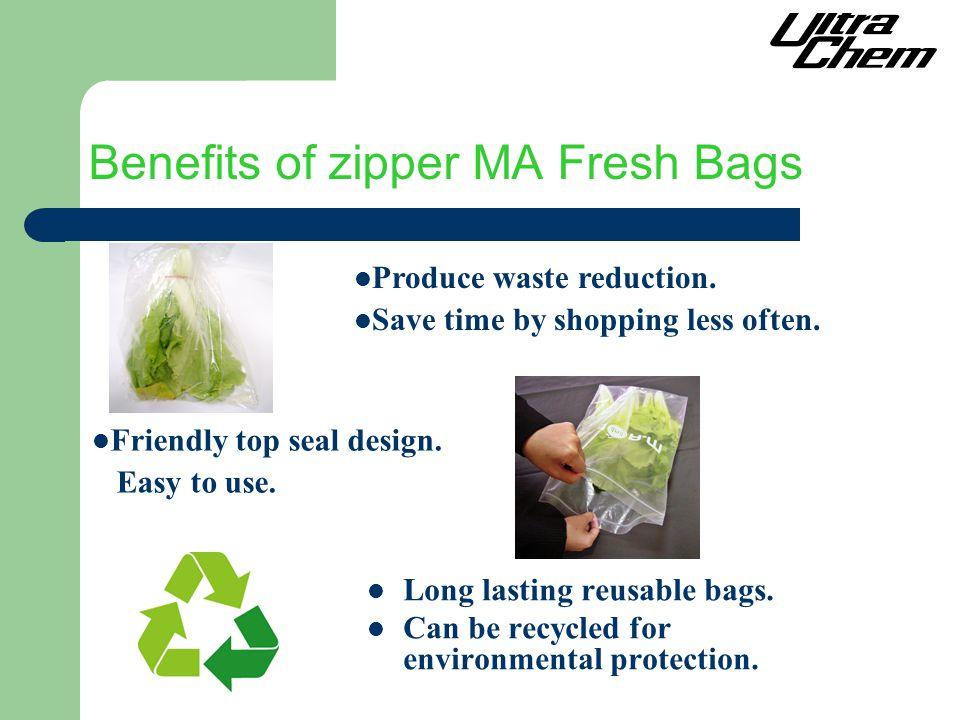 Benefits of zipper MA Fresh Bags Long lasting reusable bags.