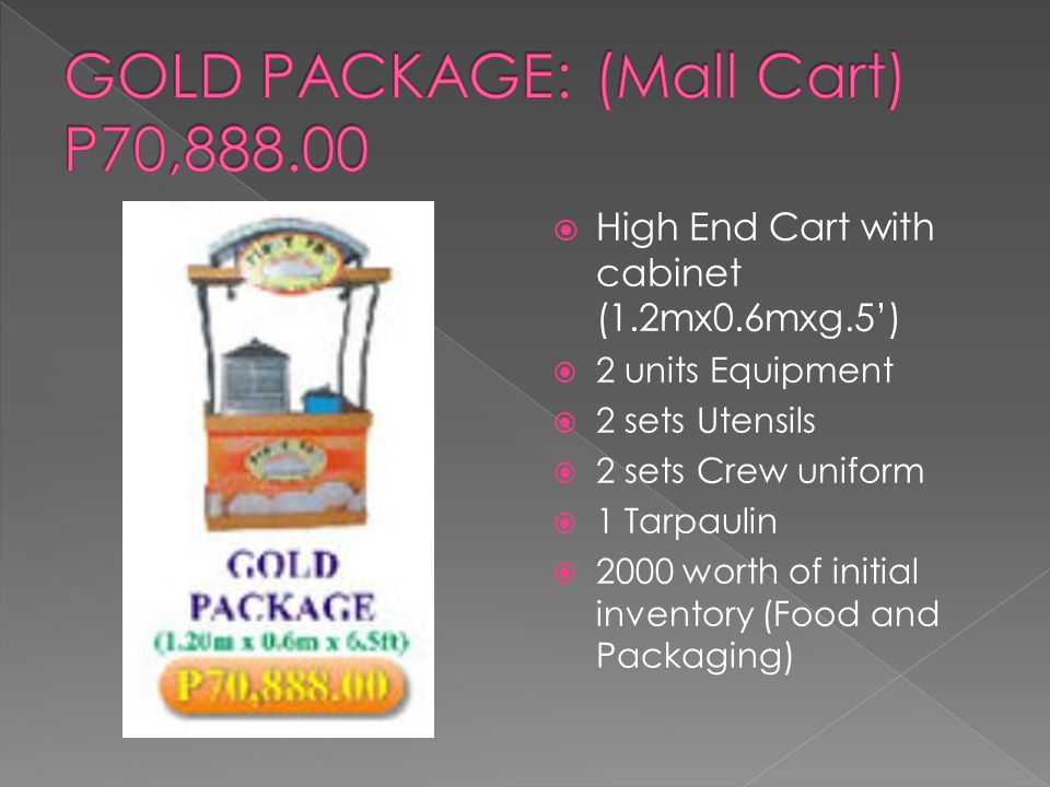 High End Cart with cabinet (1.2mx0.6mxg.5')  2 units Equipment  2 sets Utensils  2 sets Crew uniform  1 Tarpaulin  2000 worth of initial inventory (Food and Packaging)