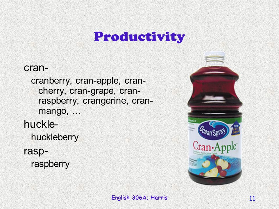 English 306A; Harris 11 Productivity cran- cranberry, cran-apple, cran- cherry, cran-grape, cran- raspberry, crangerine, cran- mango, … huckle- huckleberry rasp- raspberry