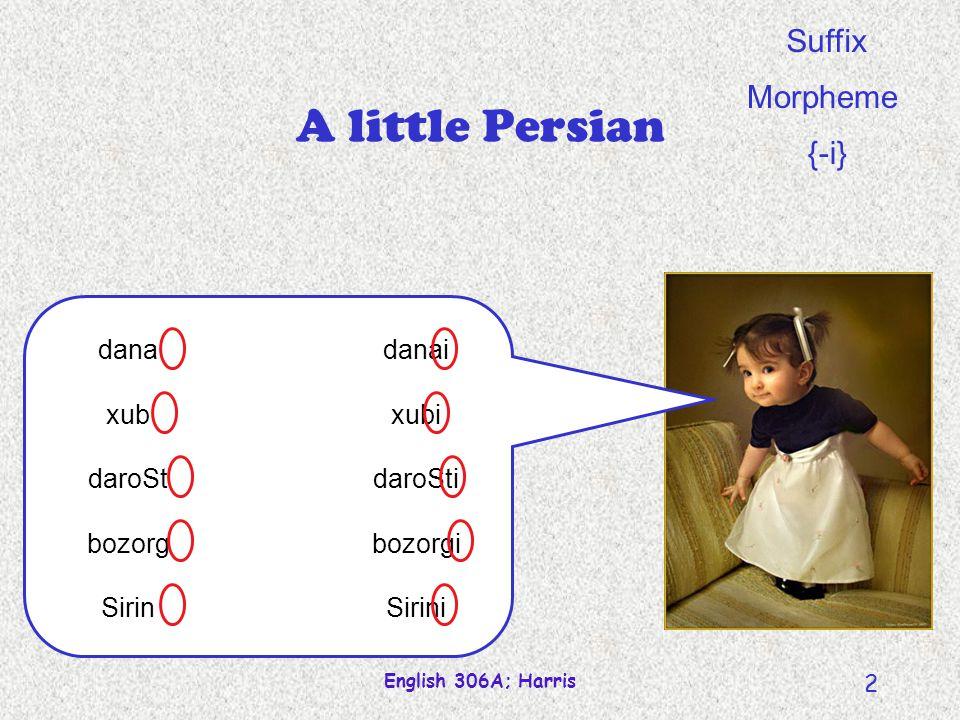 English 306A; Harris 2 A little Persian dana xub daroSt bozorg Sirin danai xubi daroSti bozorgi Sirini Suffix Morpheme {-i}