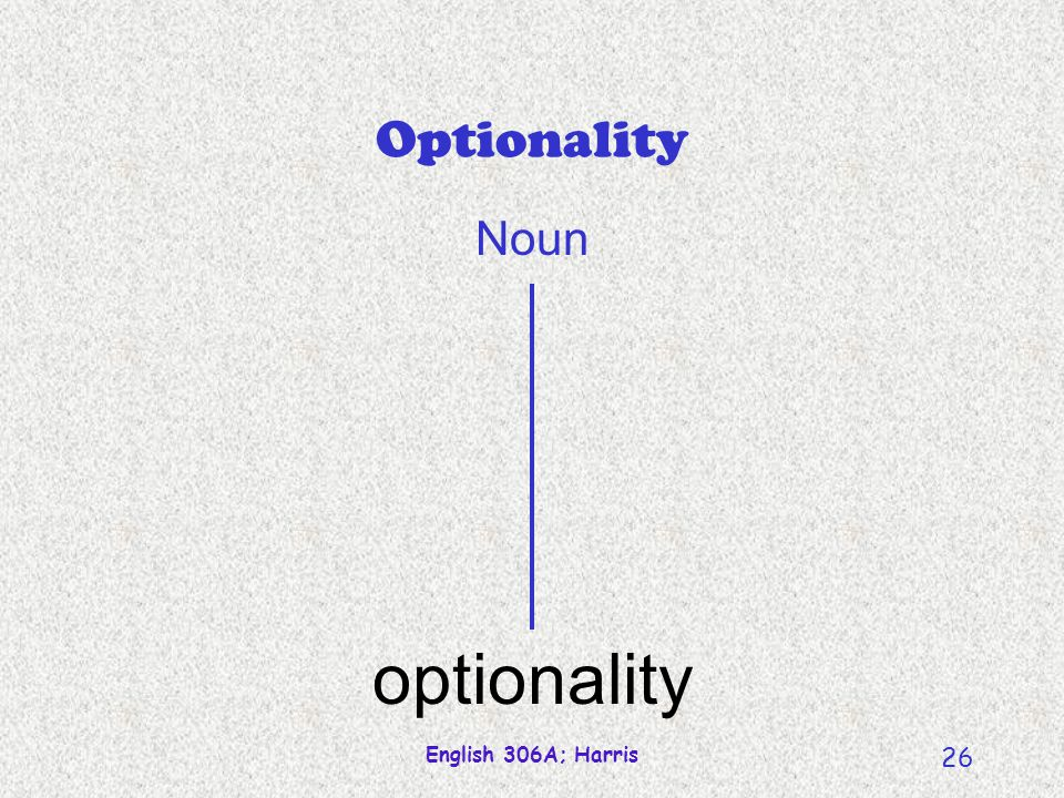 English 306A; Harris 26 Optionality optionality Noun