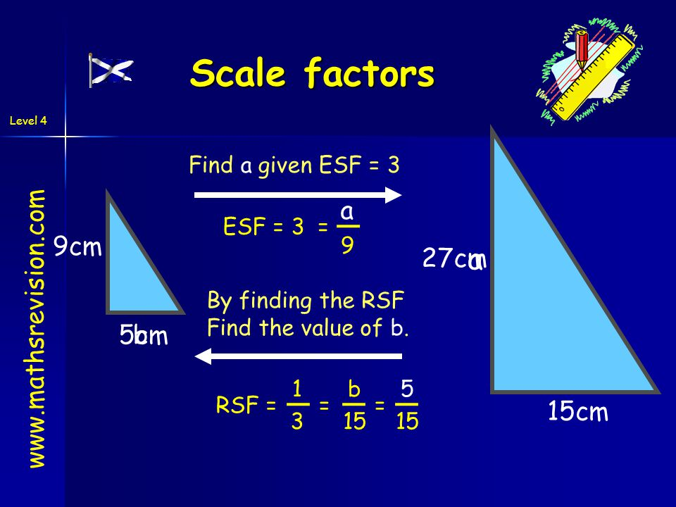 Level 4 9cm a Find a given ESF = 3 b 15cm By finding the RSF Find the value of b.