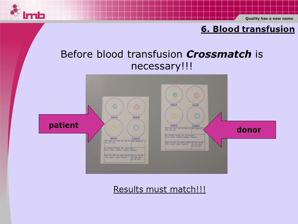 6. Blood transfusion Before blood transfusion Crossmatch is necessary!!.