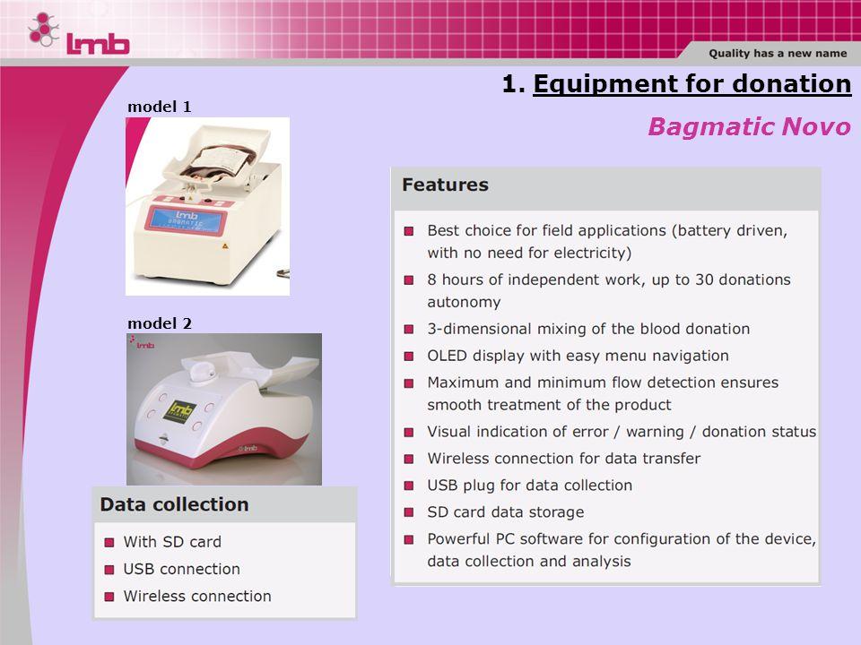1.Equipment for donation Bagmatic Novo model 1 model 2