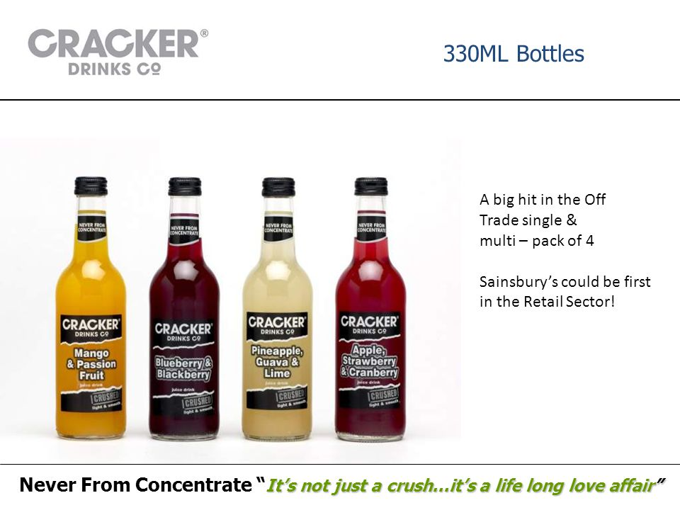 "330ML Bottles It's not just a crush...it's a life long love affair"" Never From Concentrate "" It's not just a crush...it's a life long love affair"" A b"