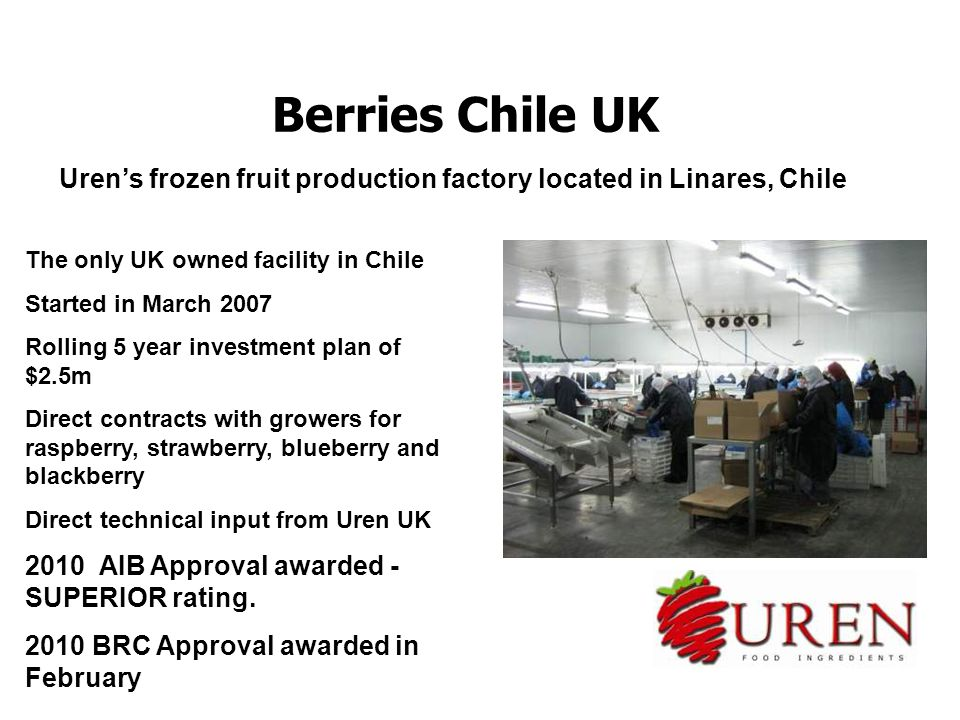 Berries Chile UK Uren's frozen fruit production factory located in Linares, Chile The only UK owned facility in Chile Started in March 2007 Rolling 5 year investment plan of $2.5m Direct contracts with growers for raspberry, strawberry, blueberry and blackberry Direct technical input from Uren UK 2010 AIB Approval awarded - SUPERIOR rating.