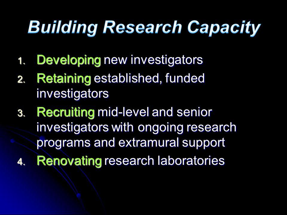 1. Developing new investigators 2. Retaining established, funded investigators 3.