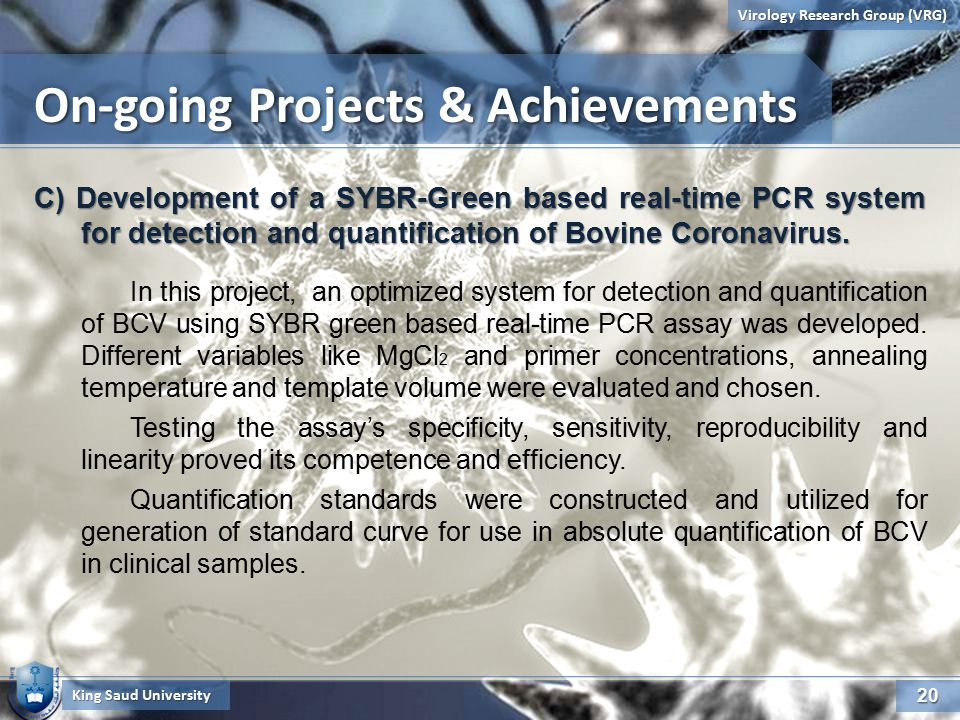 20 Virology Research Group (VRG) King Saud University C) Development of a SYBR-Green based real-time PCR system for detection and quantification of Bovine Coronavirus.