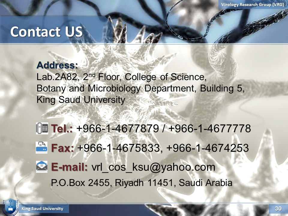 30 Virology Research Group (VRG) Contact US King Saud University Address: Lab.2A82, 2 nd Floor, College of Science, Botany and Microbiology Department, Building 5, King Saud University Tel.: Tel.: +966-1-4677879 / +966-1-4677778 Fax: Fax: +966-1-4675833, +966-1-4674253 E-mail: E-mail: vrl_cos_ksu@yahoo.com P.O.Box 2455, Riyadh 11451, Saudi Arabia