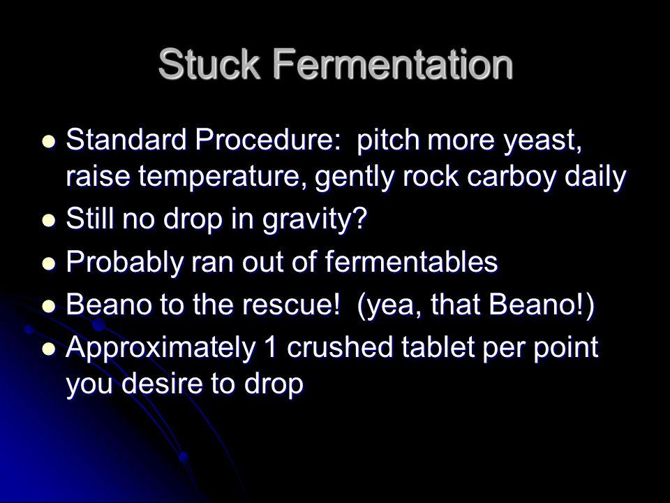 Stuck Fermentation Standard Procedure: pitch more yeast, raise temperature, gently rock carboy daily Standard Procedure: pitch more yeast, raise tempe