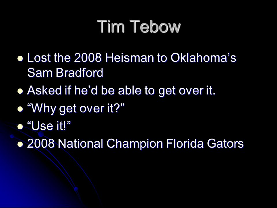 Tim Tebow Lost the 2008 Heisman to Oklahoma's Sam Bradford Lost the 2008 Heisman to Oklahoma's Sam Bradford Asked if he'd be able to get over it. Aske