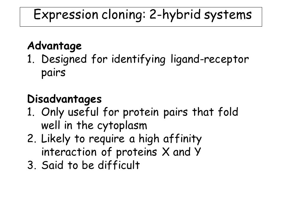 Advantage 1.Designed for identifying ligand-receptor pairs Disadvantages 1.Only useful for protein pairs that fold well in the cytoplasm 2.Likely to require a high affinity interaction of proteins X and Y 3.Said to be difficult Expression cloning: 2-hybrid systems