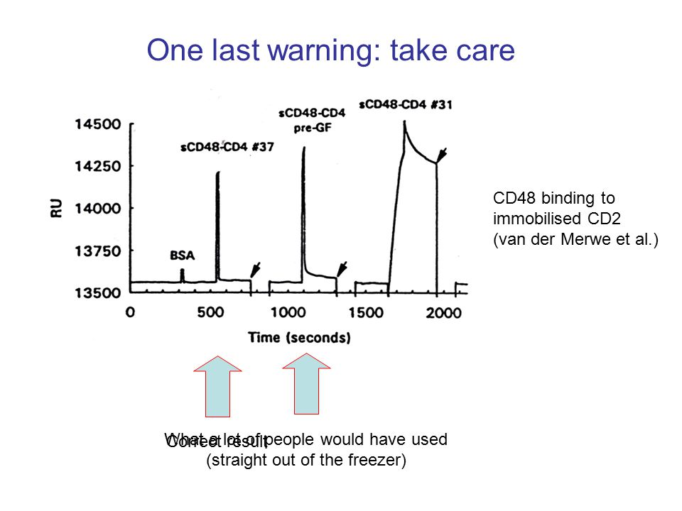 One last warning: take care CD48 binding to immobilised CD2 (van der Merwe et al.) What a lot of people would have used (straight out of the freezer) Correct result