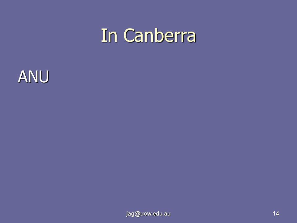 jag@uow.edu.au14 In Canberra ANU