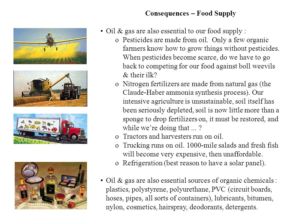 23 Consequences – Food Supply Oil & gas are also essential to our food supply : oPesticides are made from oil. Only a few organic farmers know how to