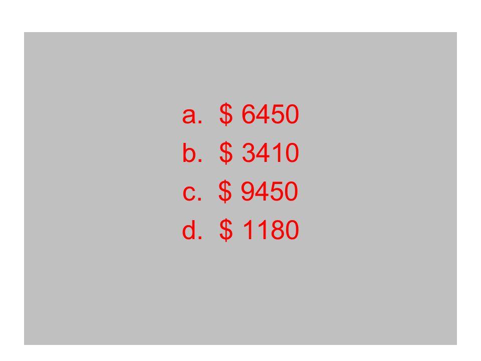 a. $ 6450 b. $ 3410 c. $ 9450 d. $ 1180