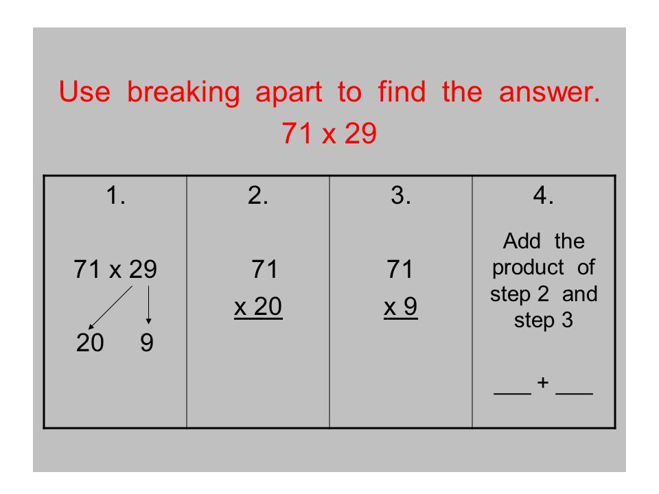 Use breaking apart to find the answer. 71 x 29 1.