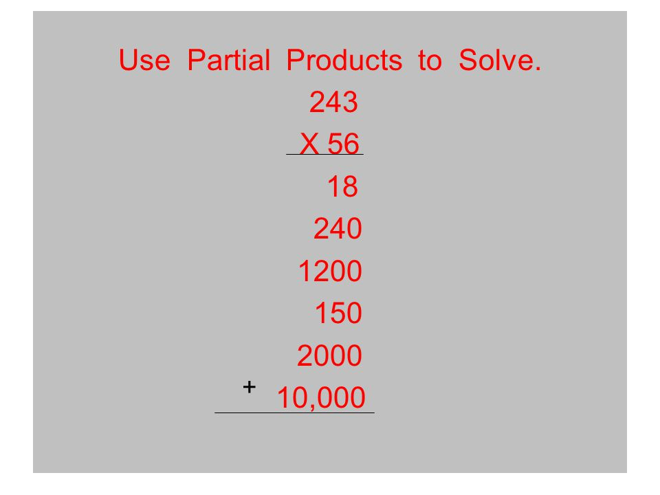 Use Partial Products to Solve. 243 X 56 18 240 1200 150 2000 10,000 +