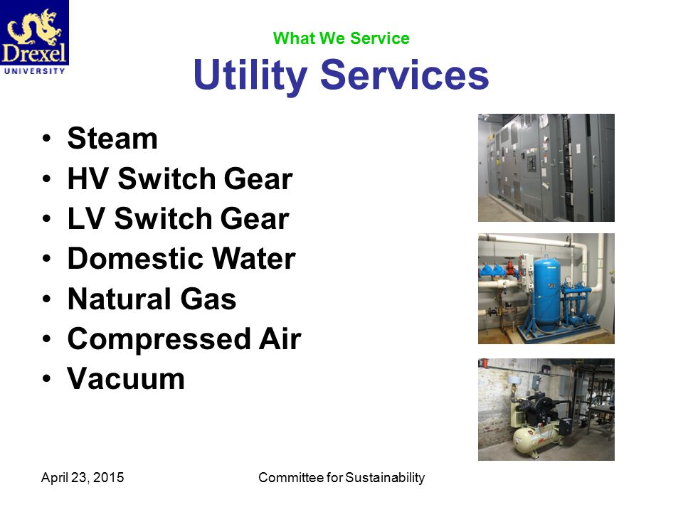 April 23, 2015Committee for Sustainability Utility Metering Electricity Gas