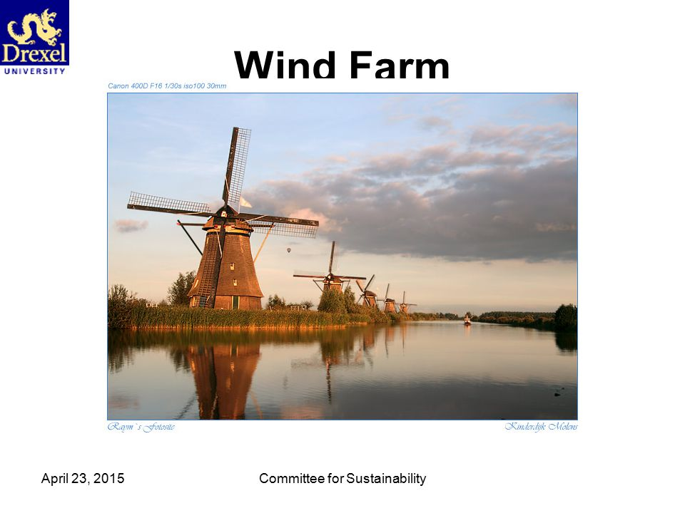 April 23, 2015Committee for Sustainability Wind Farm
