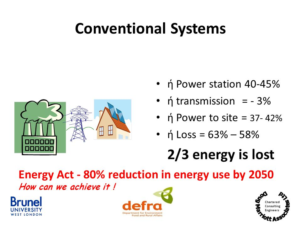 Chartered Consulting Engineers Conventional Systems ή Power station 40-45% ή transmission = - 3% ή Power to site = 37- 42% ή Loss = 63% – 58% 2/3 energy is lost Energy Act - 80% reduction in energy use by 2050 How can we achieve it !