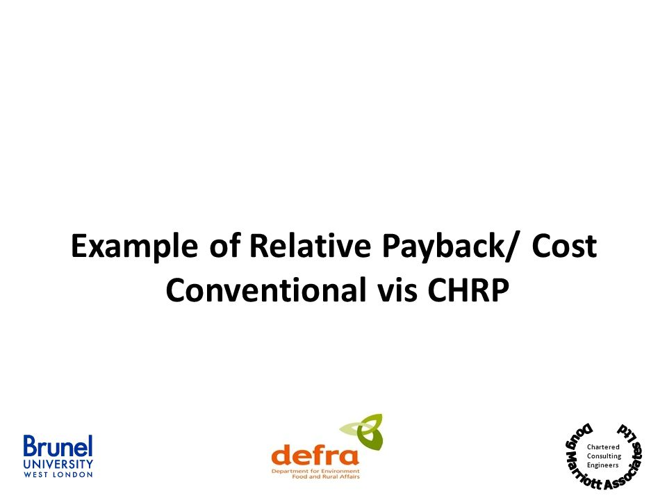 Chartered Consulting Engineers Example of Relative Payback/ Cost Conventional vis CHRP