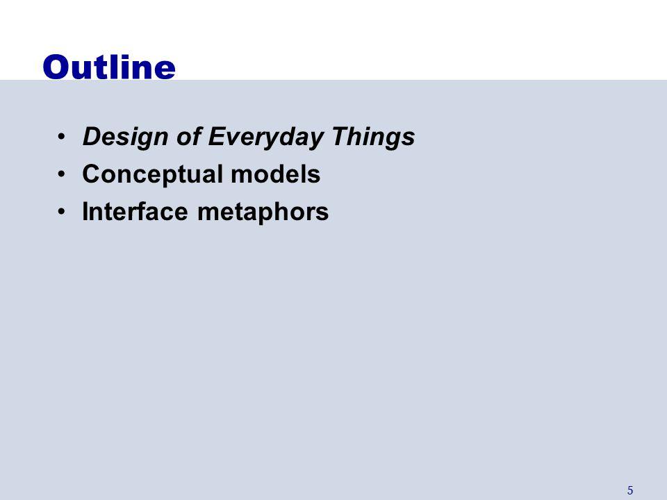 16 Conceptual Model Mismatch Mismatch between designer's & user's conceptual models leads to… –Slow performance –Errors –Frustration –...