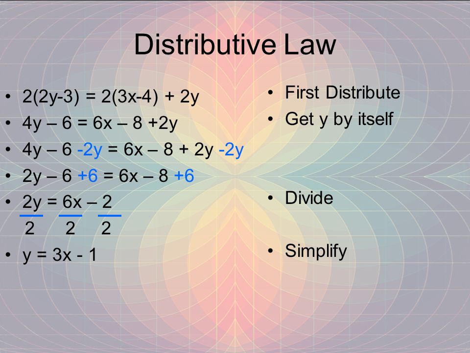 Distributive Law 2(2y-3) = 2(3x-4) + 2y 4y – 6 = 6x – 8 +2y 4y – 6 -2y = 6x – 8 + 2y -2y 2y – 6 +6 = 6x – 8 +6 2y = 6x – 2 2 2 2 y = 3x - 1 First Distribute Get y by itself Divide Simplify