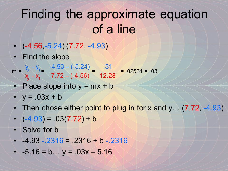 Finding the approximate equation of a line (-4.56,-5.24) (7.72, -4.93) Find the slope y - y -4.93 – (-5.24).31 x - x 7.72 – (-4.56) 12.28 Place slope into y = mx + b y =.03x + b Then chose either point to plug in for x and y… (7.72, -4.93) (-4.93) =.03(7.72) + b Solve for b -4.93 -.2316 =.2316 + b -.2316 -5.16 = b… y =.03x – 5.16 m = = = =.02524 =.03 1 1 2 2