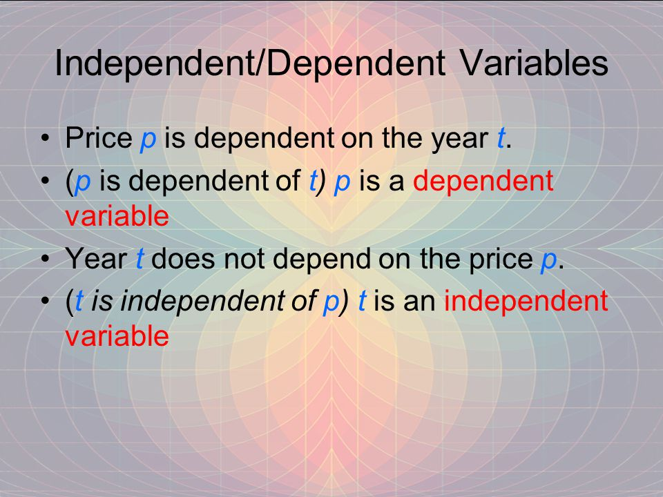 Independent/Dependent Variables Price p is dependent on the year t.