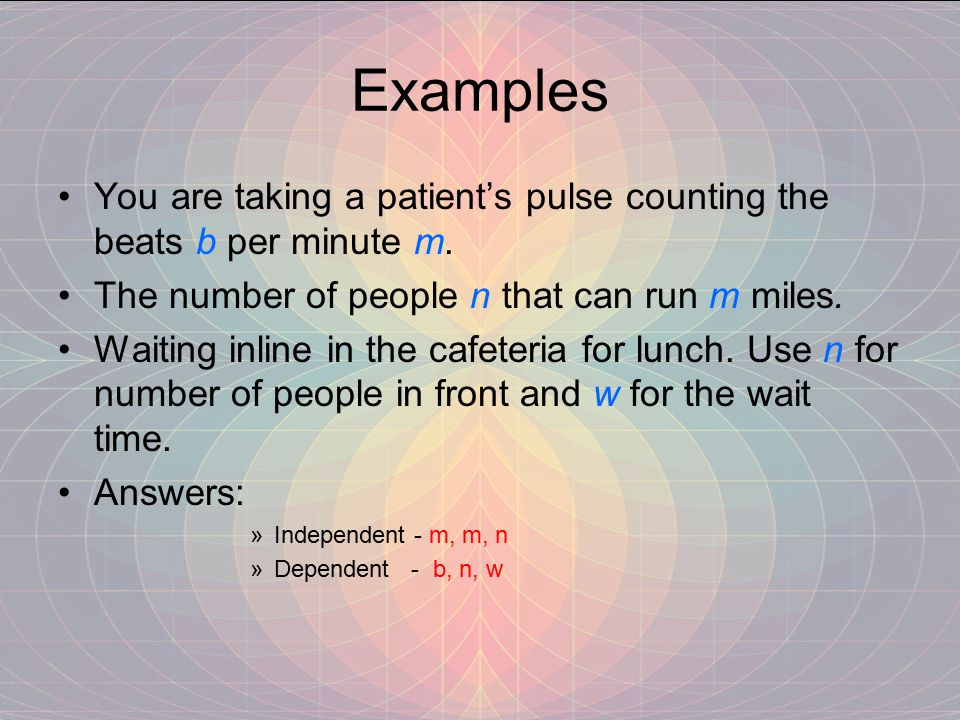 Examples You are taking a patient's pulse counting the beats b per minute m.