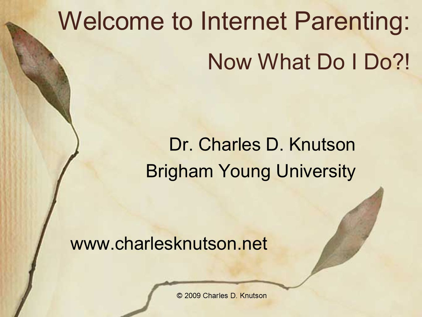 © 2009 Charles D. Knutson Welcome to Internet Parenting: Now What Do I Do?.