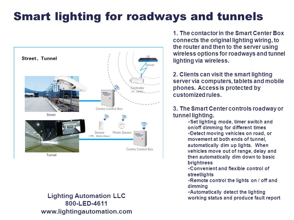 Smart lighting for roadways and tunnels 1.