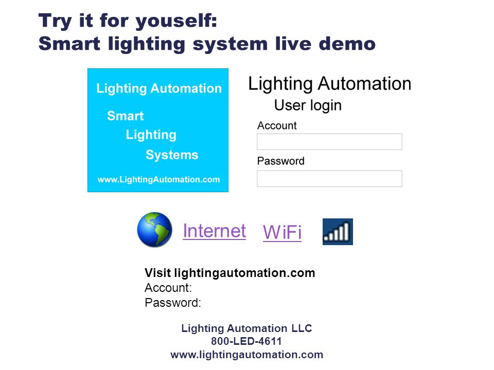 Try it for youself: Smart lighting system live demo WiFi Visit lightingautomation.com Account: Password: Internet Lighting Automation LLC 800-LED-4611 www.lightingautomation.com